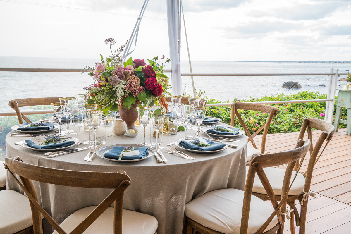 table setting w/ water view